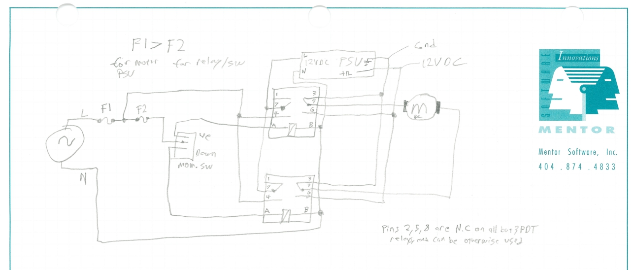 daniel bauen blog build log we chose to use some relays to switch and reverse the polarity to the motor david amis sketched the wiring diagram shown below and wired it up